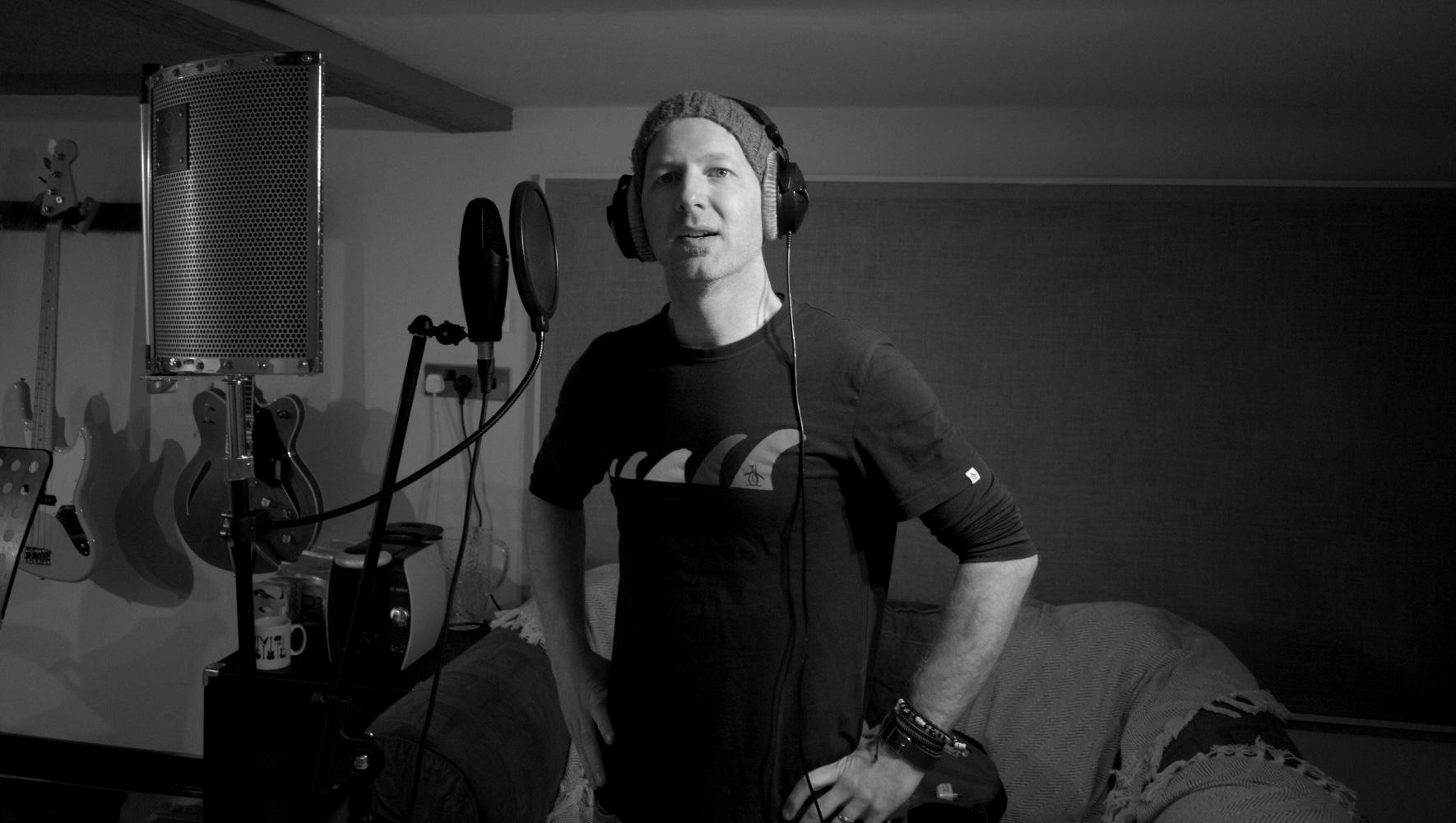 Matt recording vocals during the final studio session.